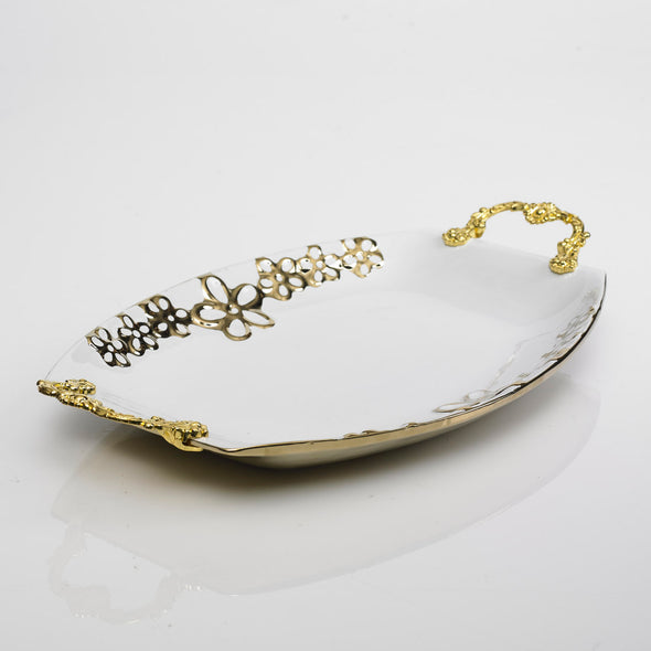 Majestic White Gold Floret Platter With Gold Handles