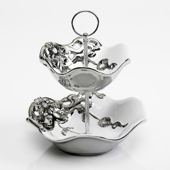 Majestic White Silver Diamante  2 Tier Bowl Stand