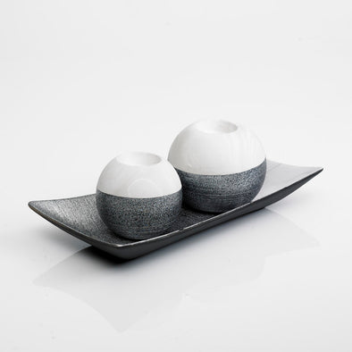 Modern Marble White & Grey Tealight Candle Holder & Tray