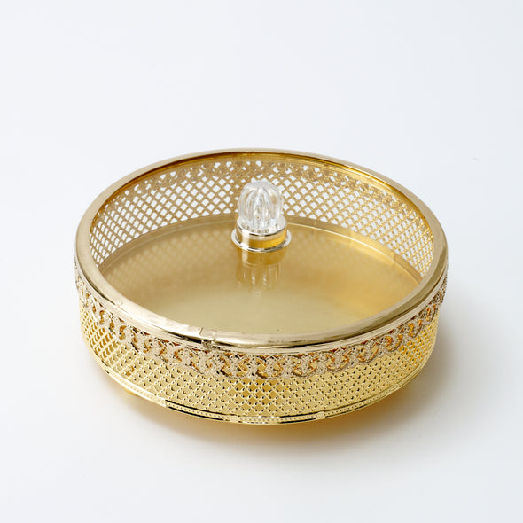 Luxurious Gold Round Trinket Box