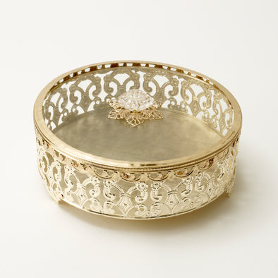 Luxurious Gold Intricate Round Trinket Box