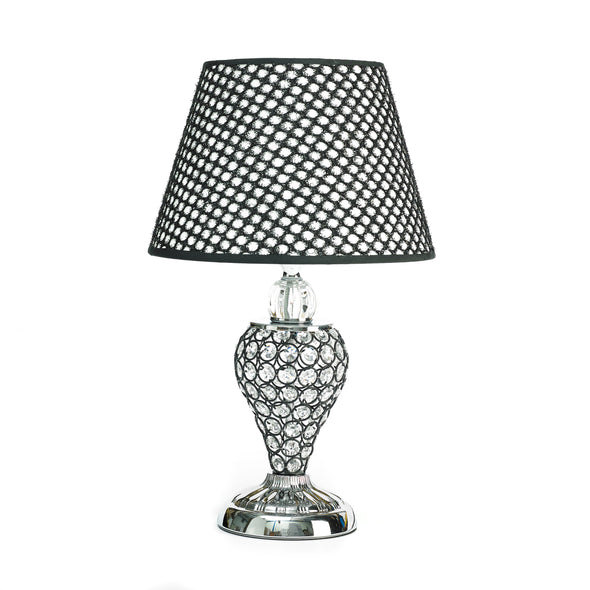 Silver & Black Crystal Table Lamp With Black Lamp Shade