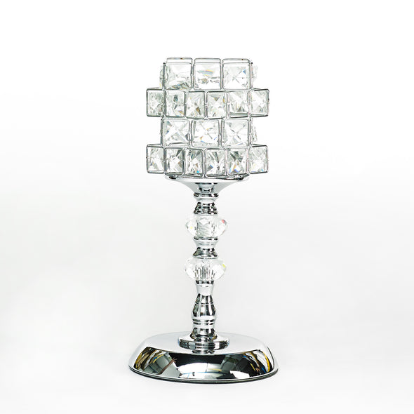 Silver Crystal Cube Led Table Lamp