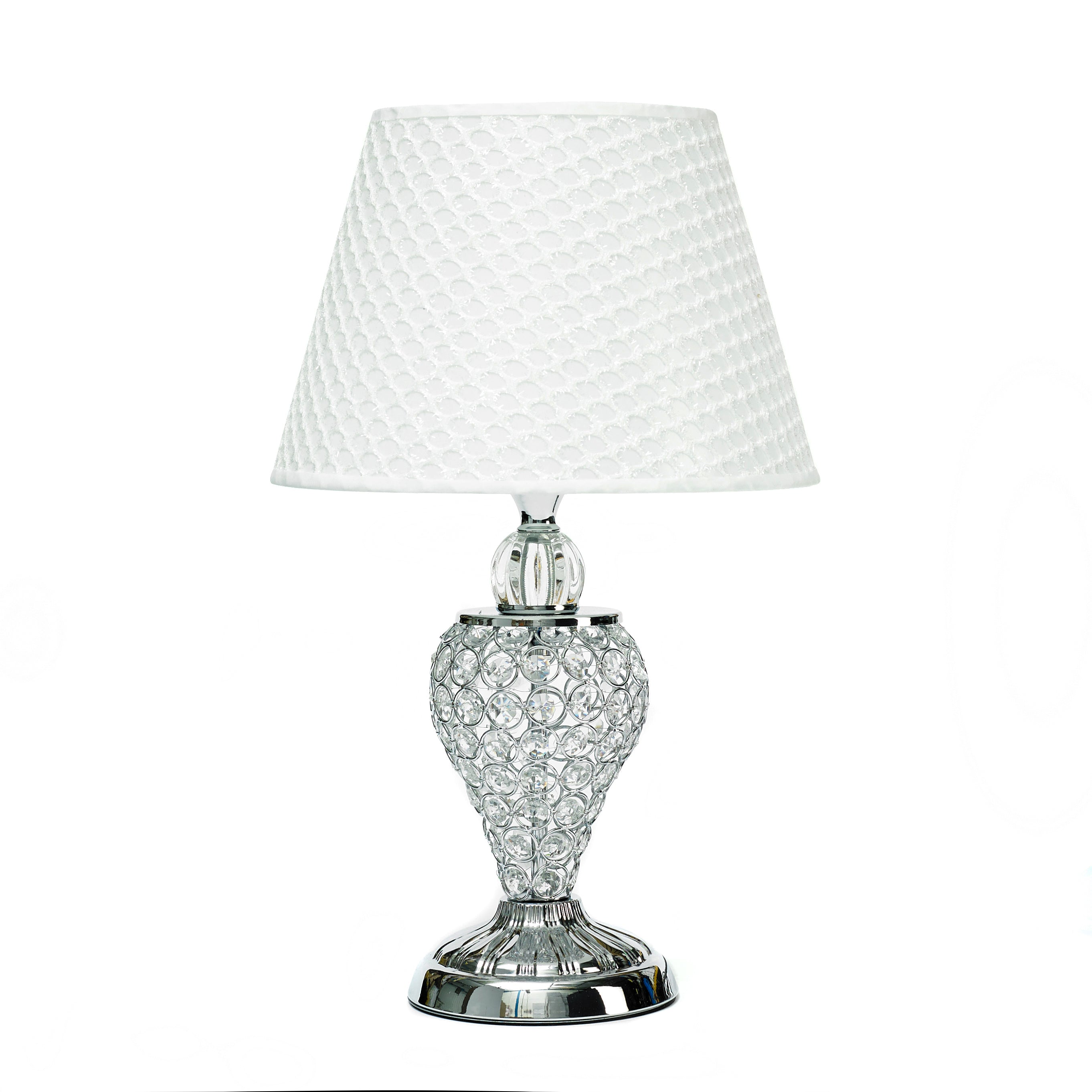 Silver Crystal Table Lamp With White Lamp Shade Interior Home Decor