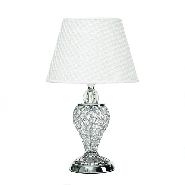 Silver Crystal Table Lamp With White Lamp Shade