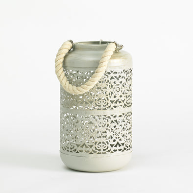 Vintage Shabby-Chic Grey Metallic Brushed Intricate Candle Holder