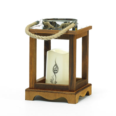 Wooden Lantern With Painted Arabic Script Led Candle
