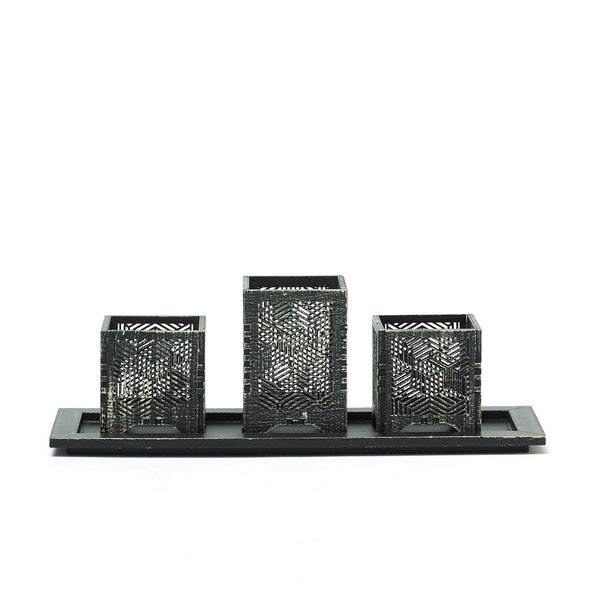 Black Decorative Intricate Tealight Candle Holder