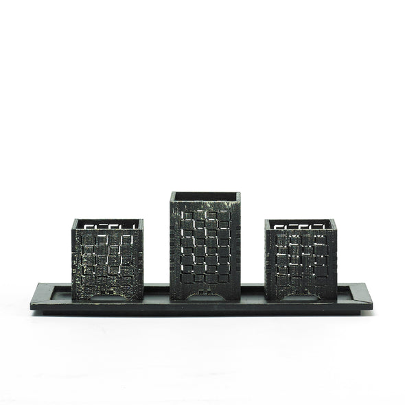 Black Decorative Maze Tealight Candle Holder
