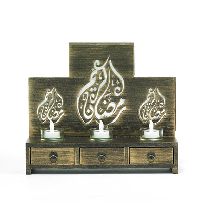 Decorative Brown Wooden Drawer Feature Tea-Light Candle Holder Engraved Arabic Scripture