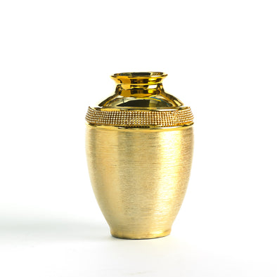 Gold Brushed Ceramic Diamante Vase