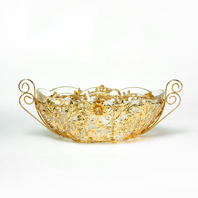 Majestic Gold Ornate Large Fruit Bowl