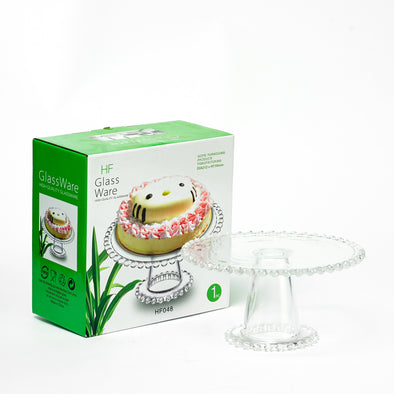 Ambience Crystal Beaded Clear Glass Cake Stand