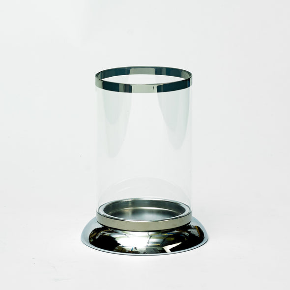 Sophisticated Silver Rimmed Clear Glass Votive Candle Holder