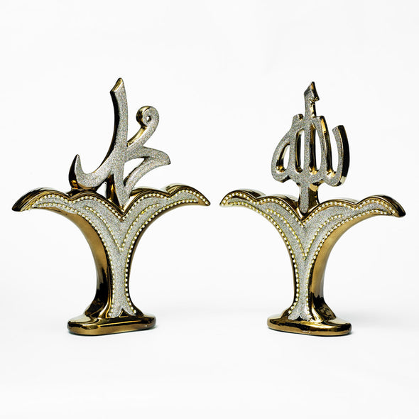 Bronze & Silver Diamante Arabic Decorative Sculptures