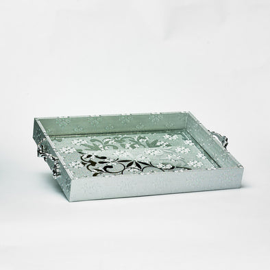 Luxurious Leather Glass Damask Silver Tray With Silver Handles