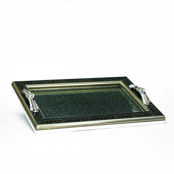 Luxurious Intricate Designed Grey Glass Tray