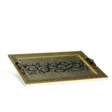 Luxurious Intricate Designed Brown Glass Tray