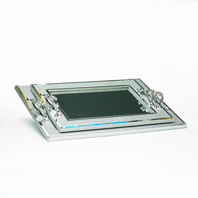 Luxurious Glittered Silver Mirrored Glass Tray Set Of 2