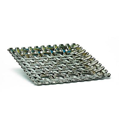 Silver Knotted Square Decorative Tray