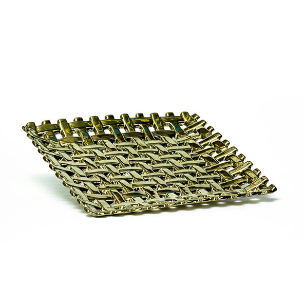 Gold Knotted Square Decorative Tray