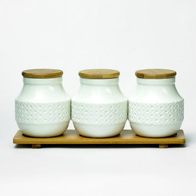 Modern Bamboo White Tea Coffee & Sugar Canister Set