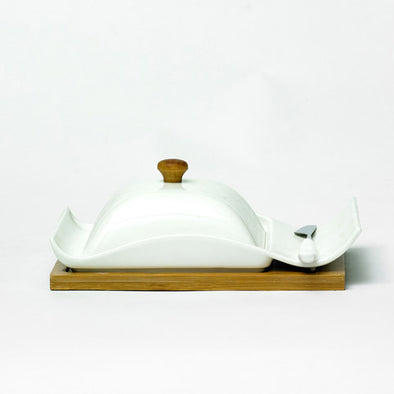 Modern White Butter Dish & Knife On A Bamboo Stand