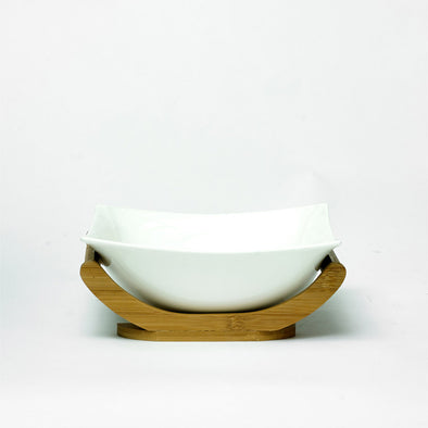 Modern White Salad Bowl With A Bamboo Stand