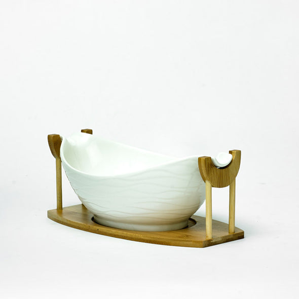 Modern White Curved Boat Bowl On A Bamboo Stand