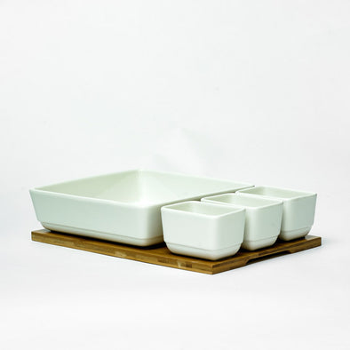 Modern White Bowl & Dip Bowl Set On A Bamboo Stand