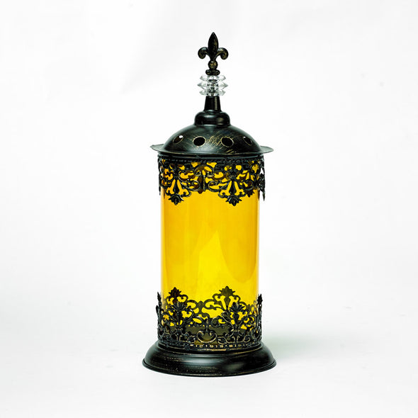 Intricate Black Designed Amber Glass Moroccan Lantern