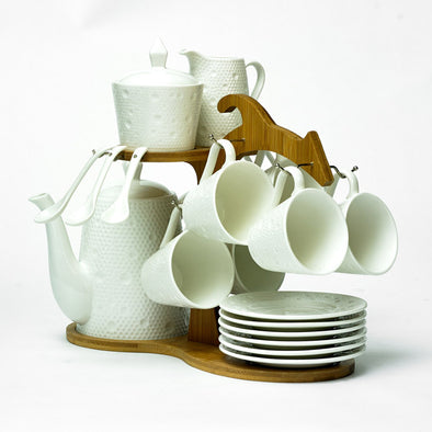 Modern White Teapot,Cups,Saucers,Sugar Bowl & Creamer Jug On A Bamboo Stand