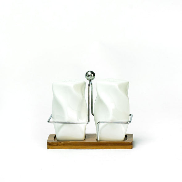 Modern White Salt & Pepper Shakers On A Bamboo Stand