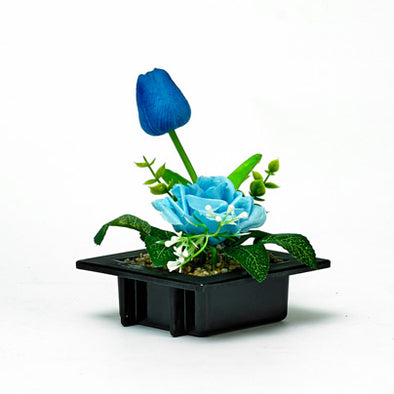 Flourish Decorative Blue Silk Rose & Bud