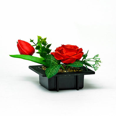 Flourish Decorative Red Silk Rose & Bud