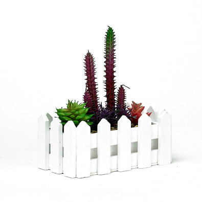 Decorative Artificial Succulent Plant In Fenced Planter