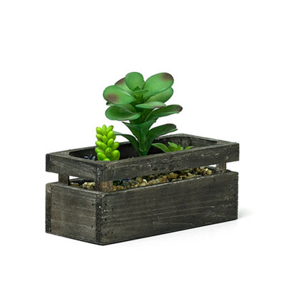 Decorative Wooden Planter With Artificial Succulent