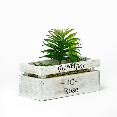 Decorative Wooden Planter With Artificial Green Plant