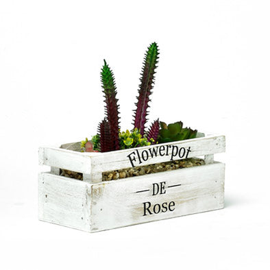 Decorative Wooden Planter With Artificial Plant