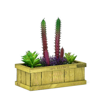 Decorative Wooden Planter With Artificial Succulent Plant