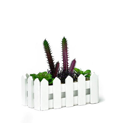 Decorative Fenced Planter With Artificial Succulents