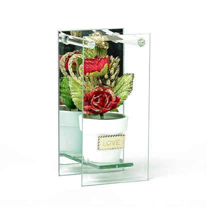 Shimmered Red Rose In Mirrored Glass Display