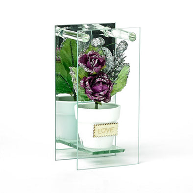 Shimmered Purple Rose In Mirrored Glass Display
