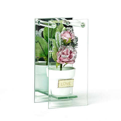 Shimmered Pink Rose In Mirrored Glass Display