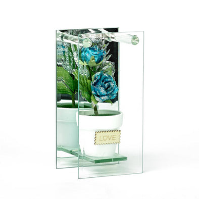 Shimmered Teal Rose In Mirrored Glass Display