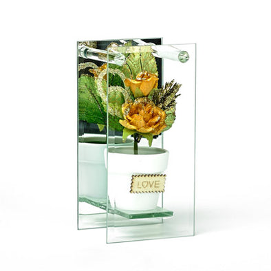 Shimmered Yellow Rose In Mirrored Glass Display