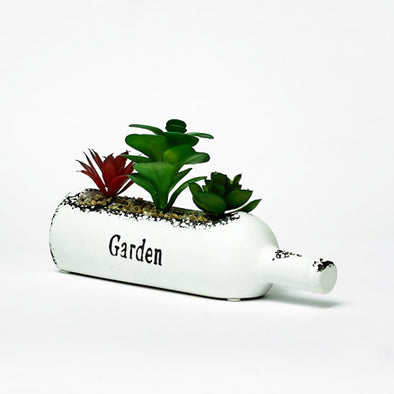 White Succulent Bottle Planter Featuring Garden Statement