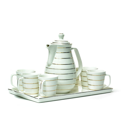 Elegant White & Gold European-Style Teapot,Mugs & Tray Set