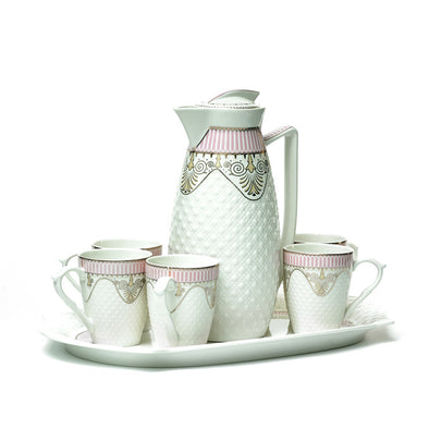 Delicate White Teapot,Mugs & Tray Set With Pink & Gold Detail
