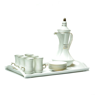 White & Gold Delicate Striped Persian Teacup Set With Tray